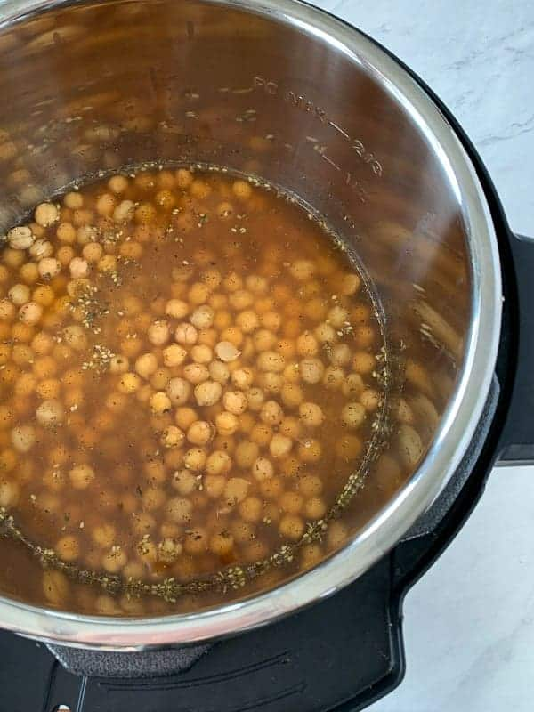 Brown Rice and Chickpeas ingredients all in the Instant Pot