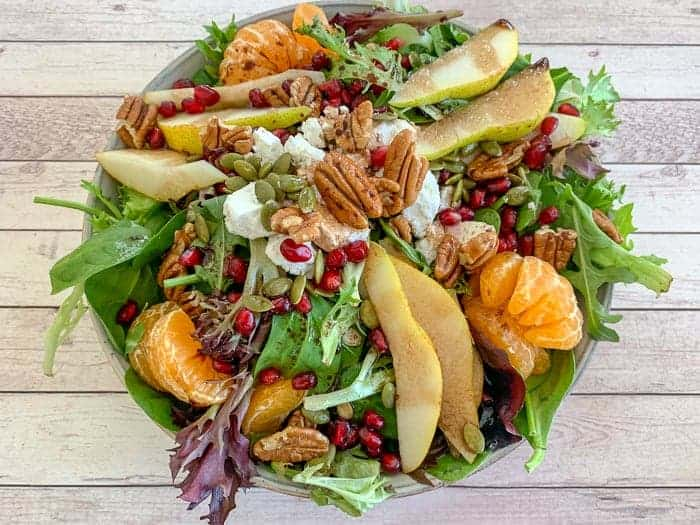 Pomegranate pear salad is flavor-packed