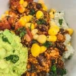 close-up of Vegan Burrito Bowl with Smashed Guac