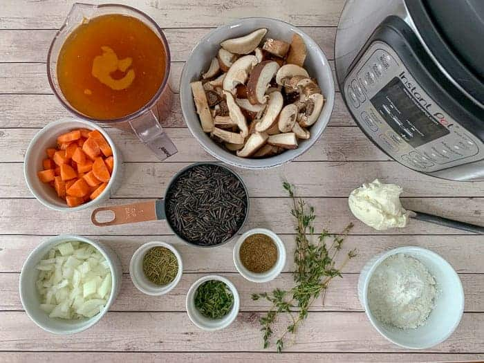 ingredients for making Instant Pot Mushroom Wild Rice Soup