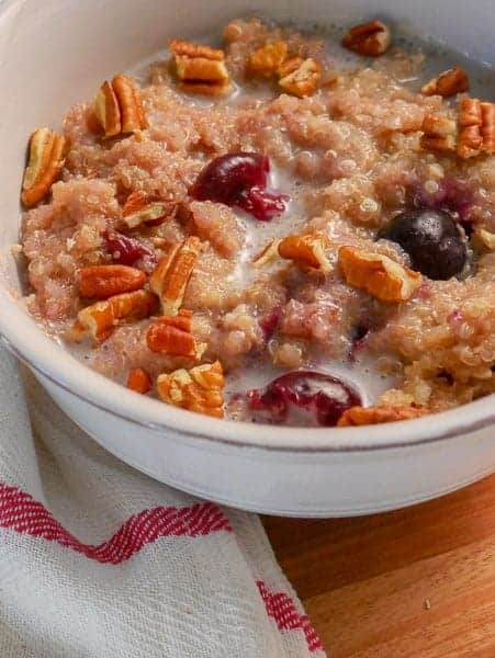 Quinoa Amaranth Porridge with Cherries & Pecans