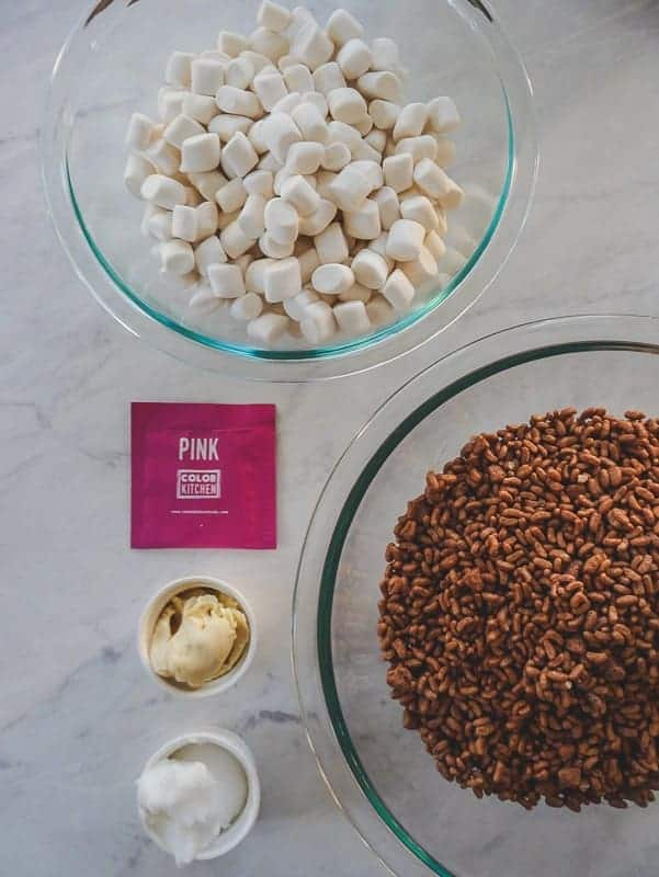 Chocolate & Pink Valentine Marshmallow Treats: Vegan GF Marshmallows, Chocolate Rice Cereal, Natural Pink Food Color, Earth Balance & Coconut Oil