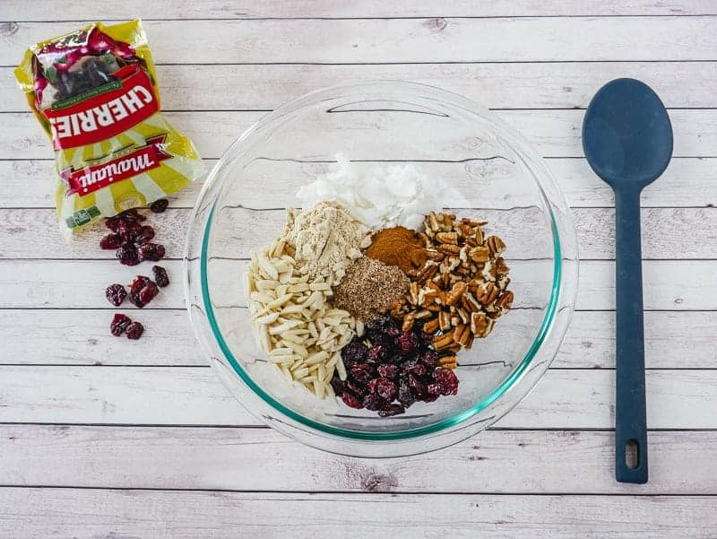 Combine dry ingredients for gluten-free granola