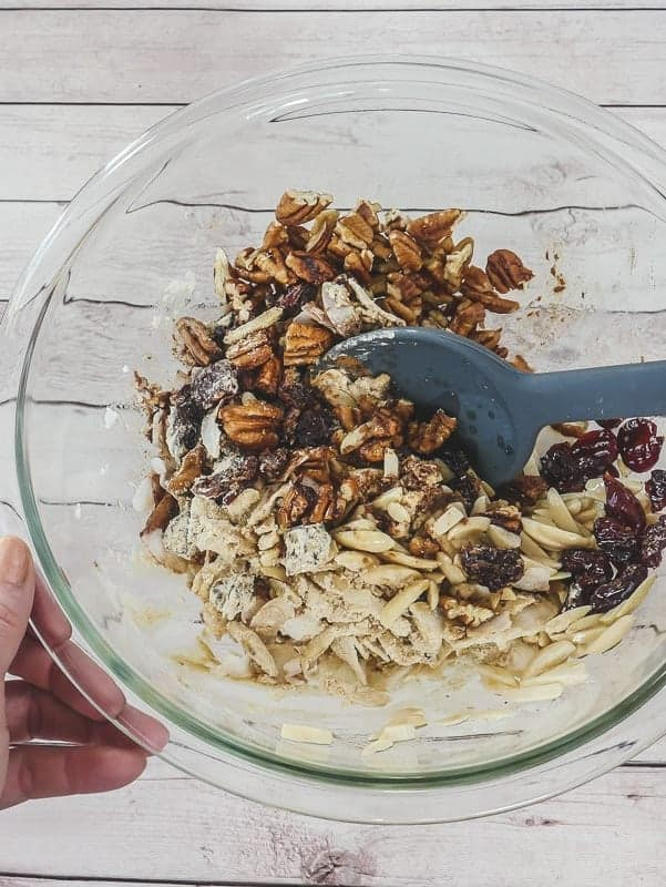 Mix granola ingredients well