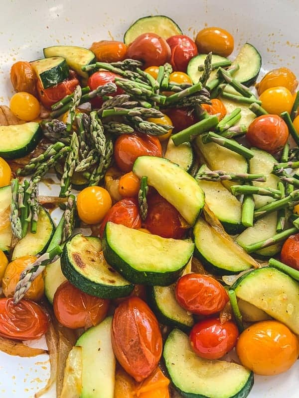 balsamic vegetables sauteeing in a pan