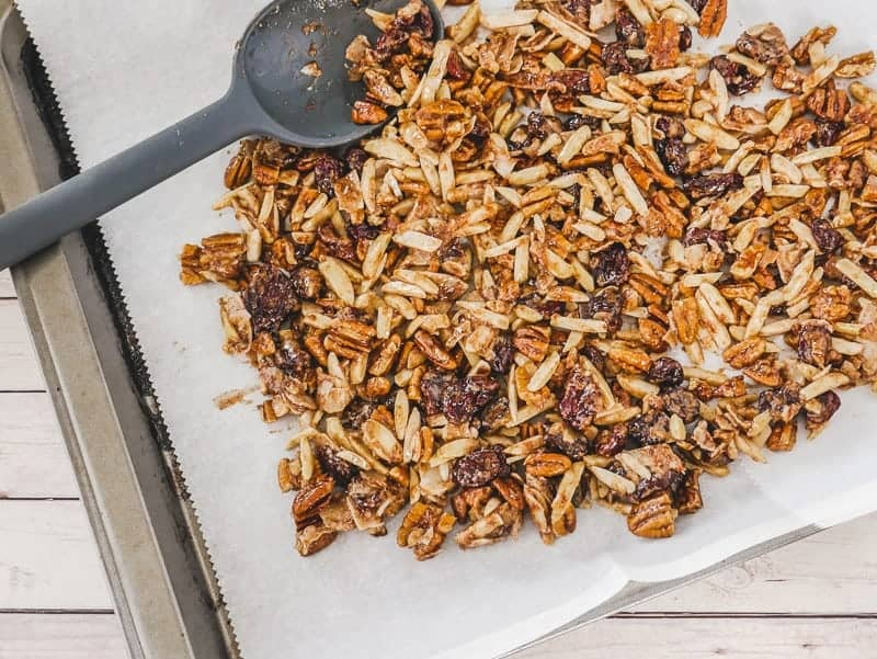 Homemade cherry granola, fresh out of the oven