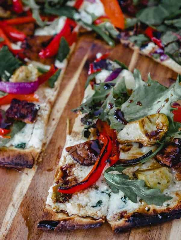 Salad Pizza with Balsamic Glaze Drizzle