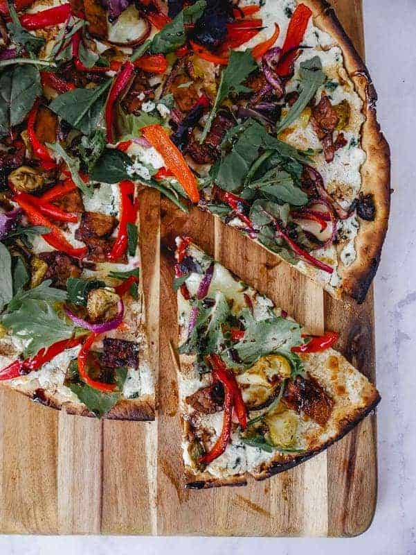 Salad Pizza with Balsamic Glaze