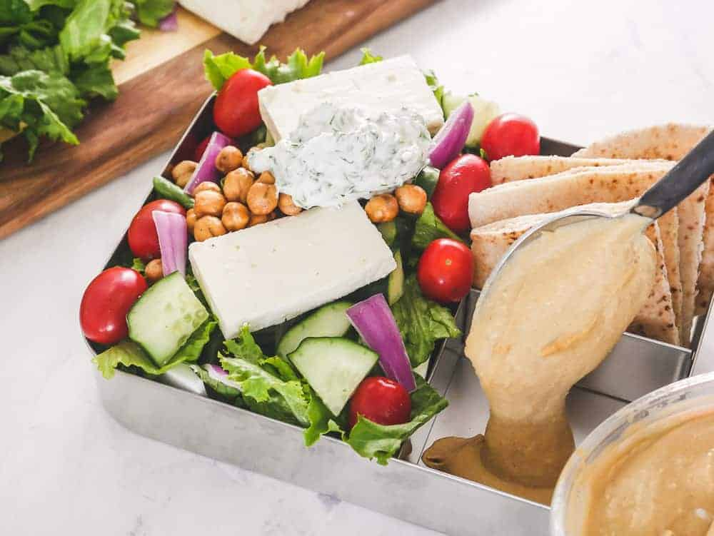 Hummus in Greek Salad Meal Prep