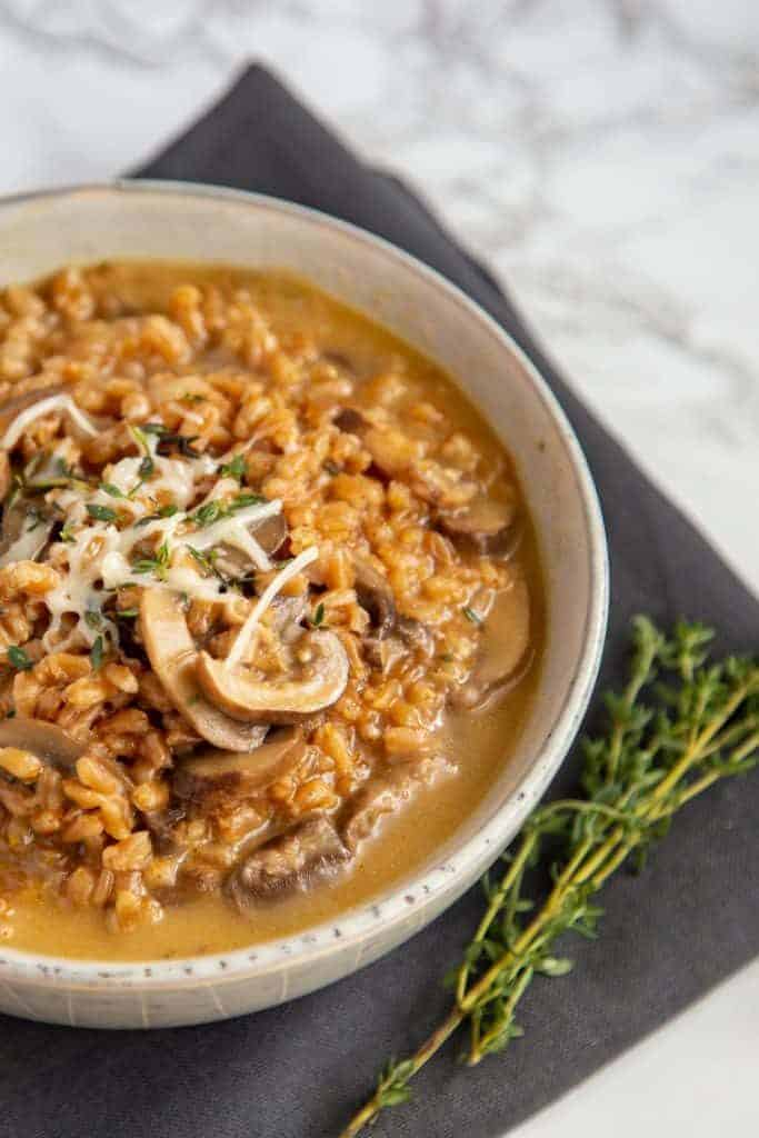 Mushrooms and risotto in a bowl