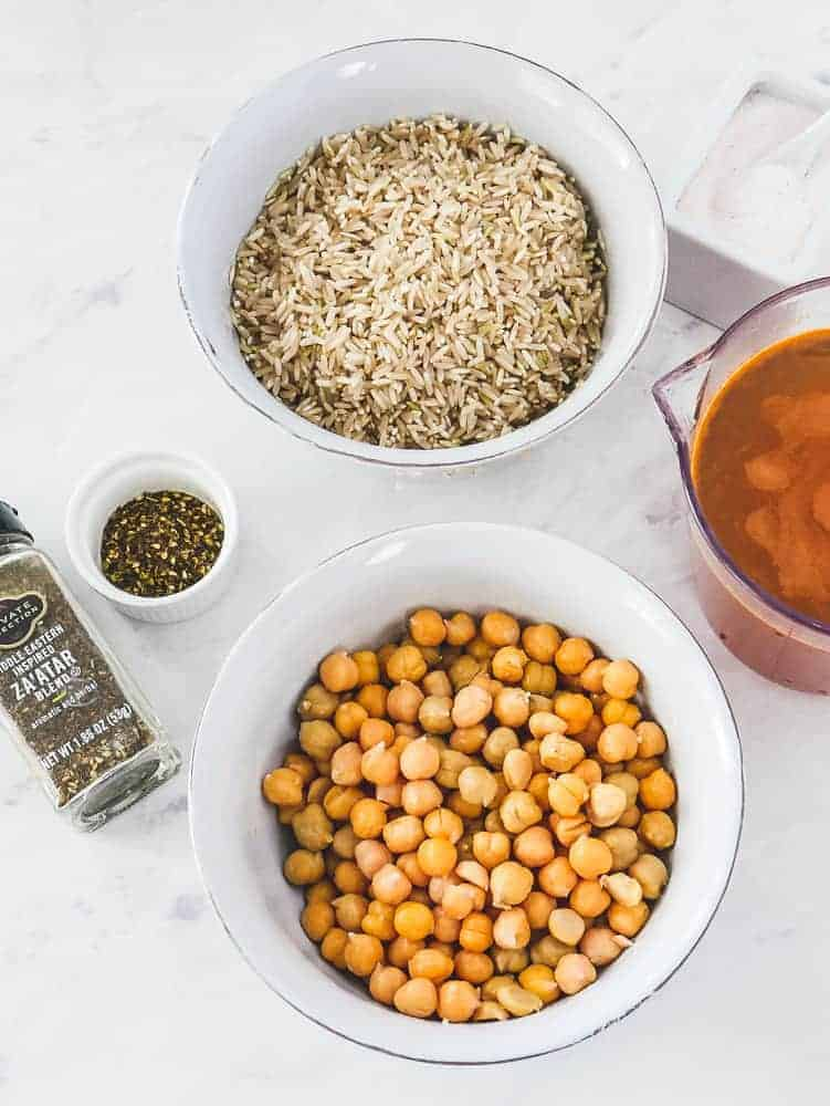 Chickpeas, brown rice, vegetable broth, and za'atar (a Middle Eastern sesame, salt and herb blend).