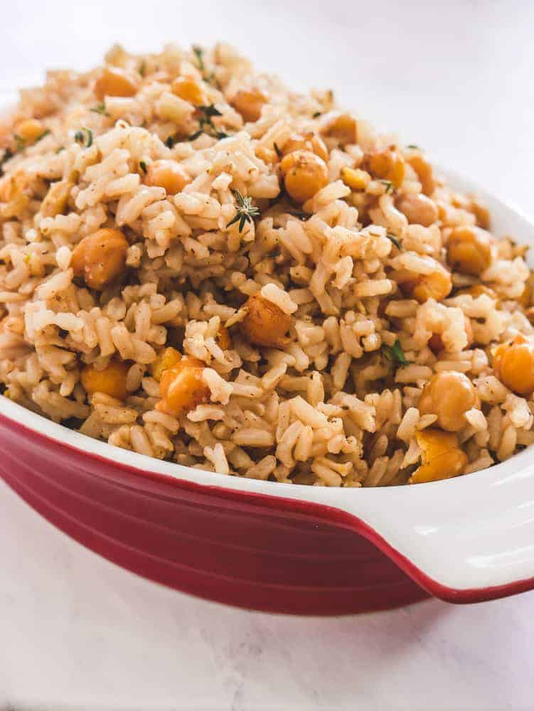 Brown Rice and Chickpeas are a delicious building block for meatless meals