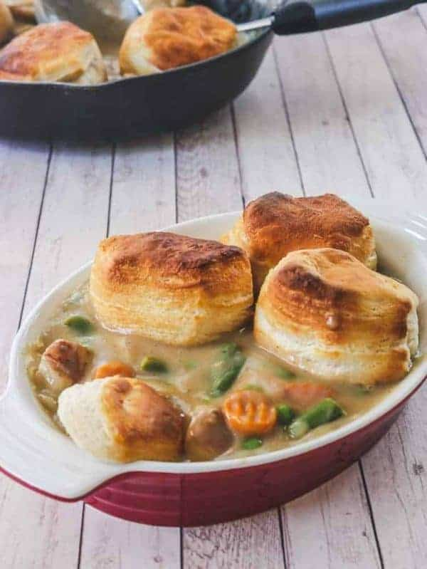 Easy Vegetarian Pot Pie with Biscuits