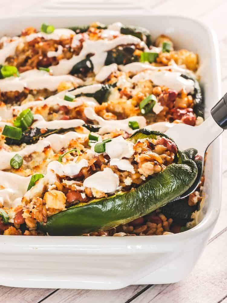 close-up of Vegetarian Chile Rellenos Casserole in a white baking dish