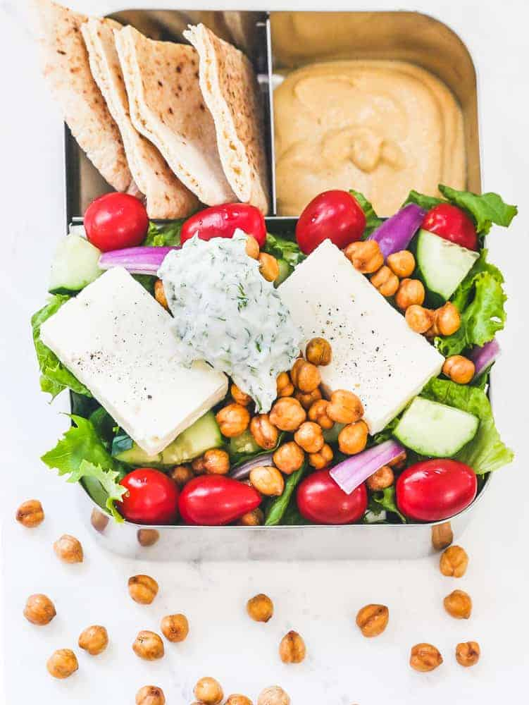 Vegetarian Greek Salad Meal Prep & Easy Tzaziki