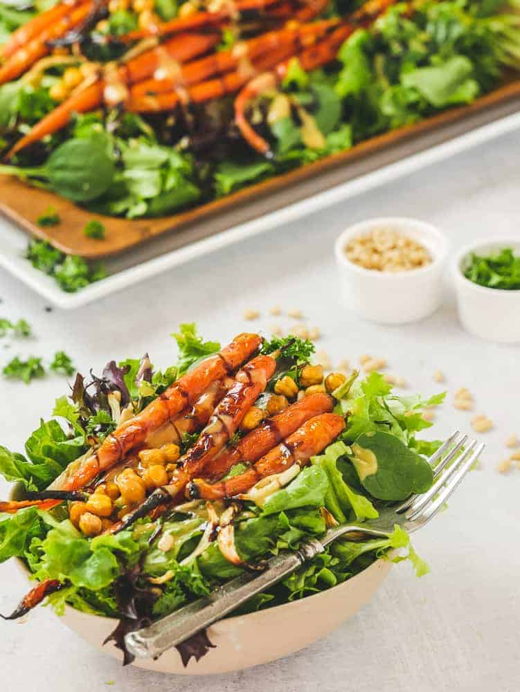 Roasted Vegetable Salad drizzled with Maple Dijon Dressing and Balsamic glaze