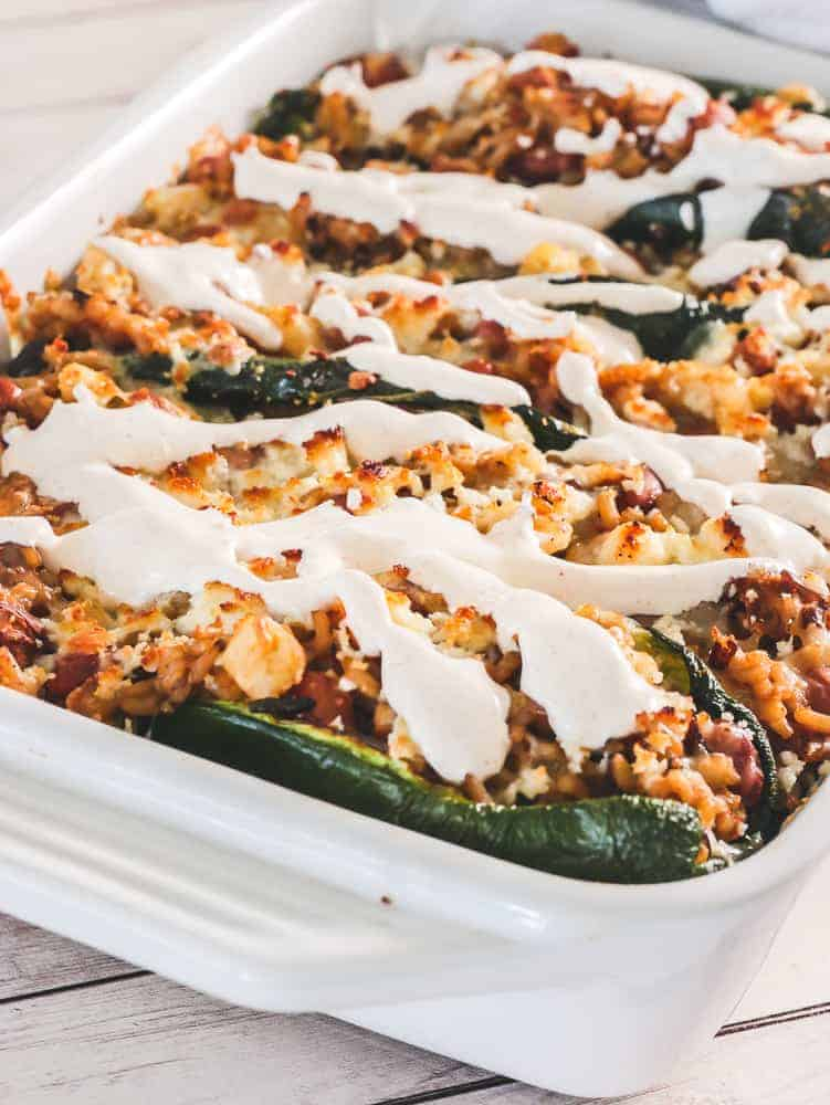 close-up of chile rellenos casserole with Southwest Crema
