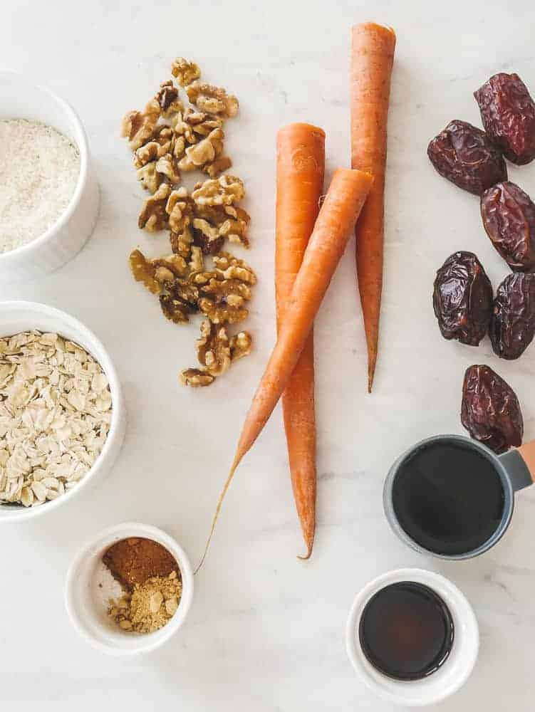 Easy ingredients: carrot, dates, walnuts and small ingredients in bowls