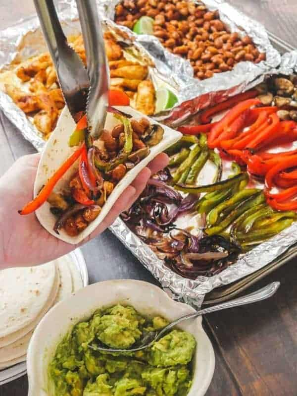 Cheap Vegan Sheet Pan Fajitas 2 Ways: Optional Chicken