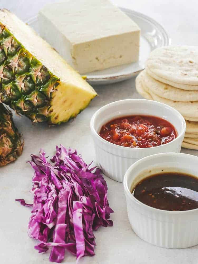 Ingredients to make Hawaiian Tofu Tacos