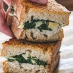Vegan Spinach and Artichoke Grilled Cheese cut in half