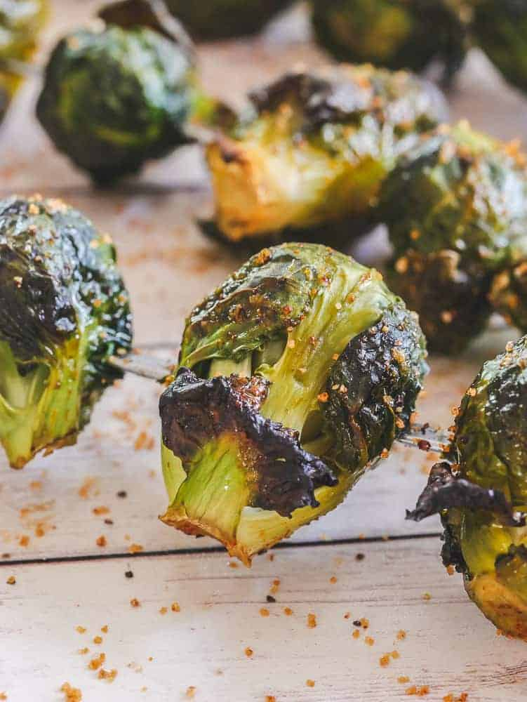 Perfectly crispy brussel sprouts in oven, on skewers with BBQ rub