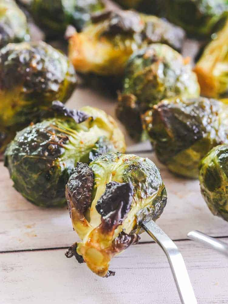 baked brussel sprouts on skewers