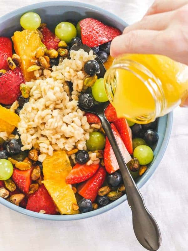 Breakfast Fruit Salad with Pearl Barley & OJ Vinaigrette