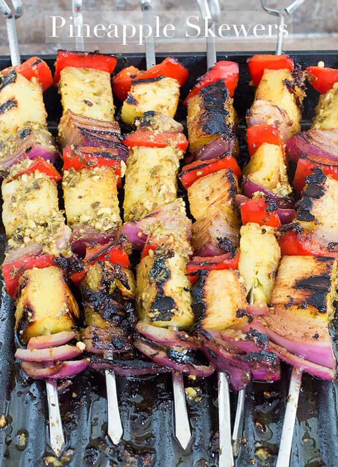 Seasonal produce: freshly grilled pineapple recipe on skewers