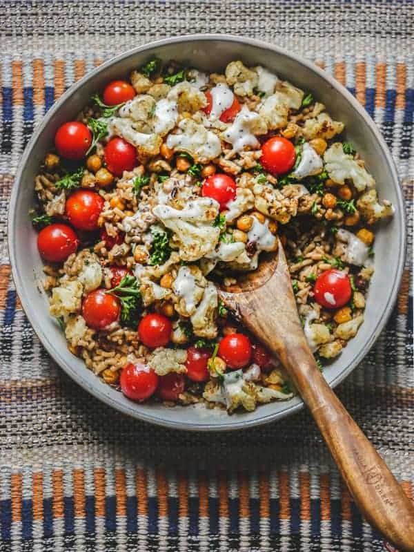 Roasted Frozen Cauliflower & Chickpea Salad