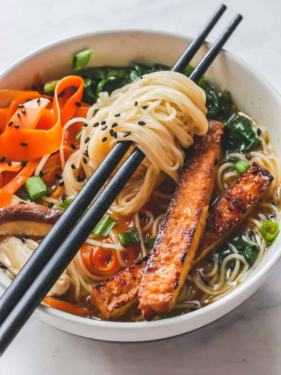 Vegan Miso Ramen in a bowl with crispy tofu and vegetables