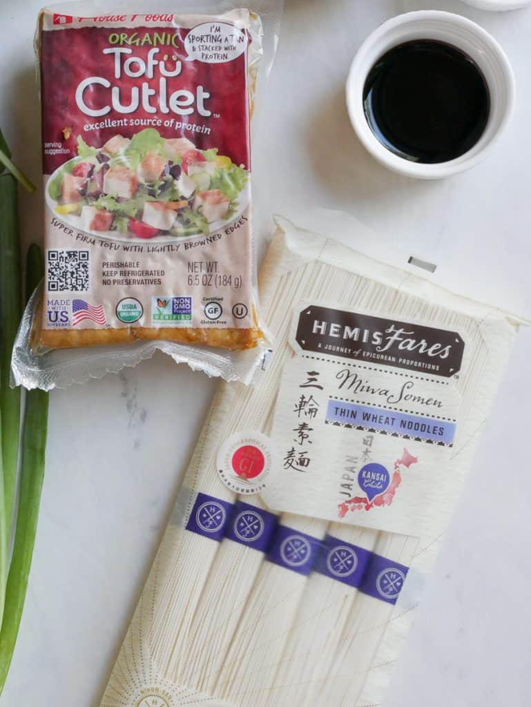 Tofu Cutlet and somen noodles in packages