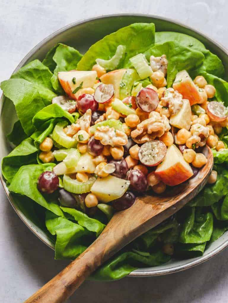 Chickpea Waldorf Salad with Lemon Poppyseed Dressing