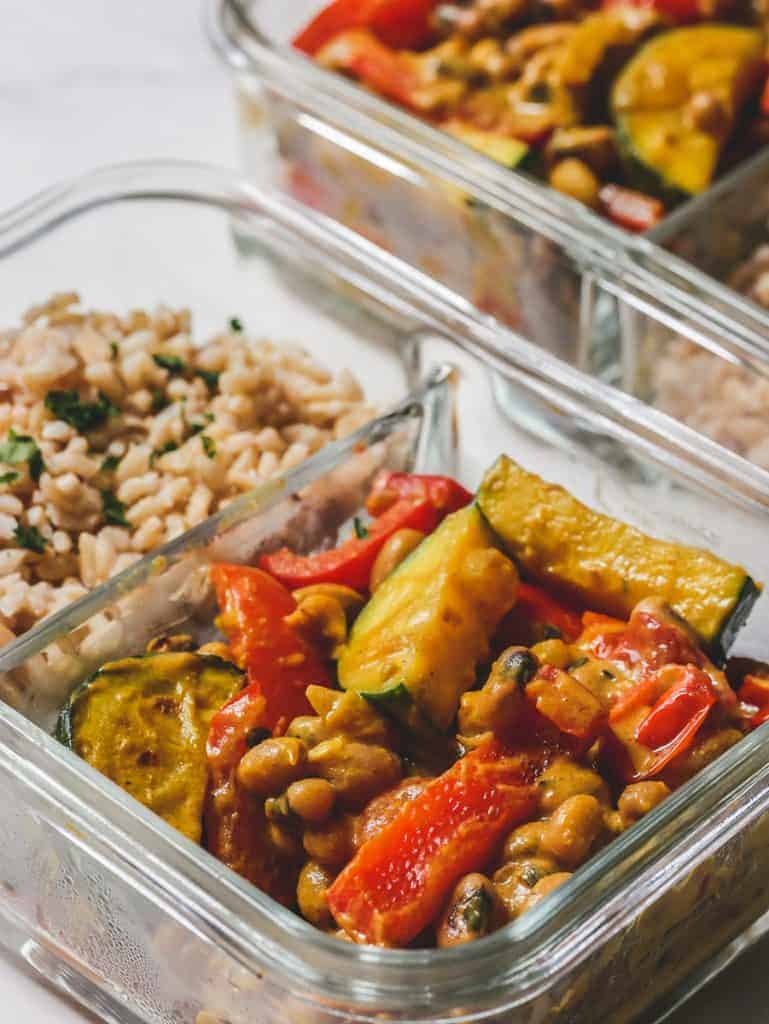 Curried Black Eyed Peas Recipe in Two Meal Prep Containers