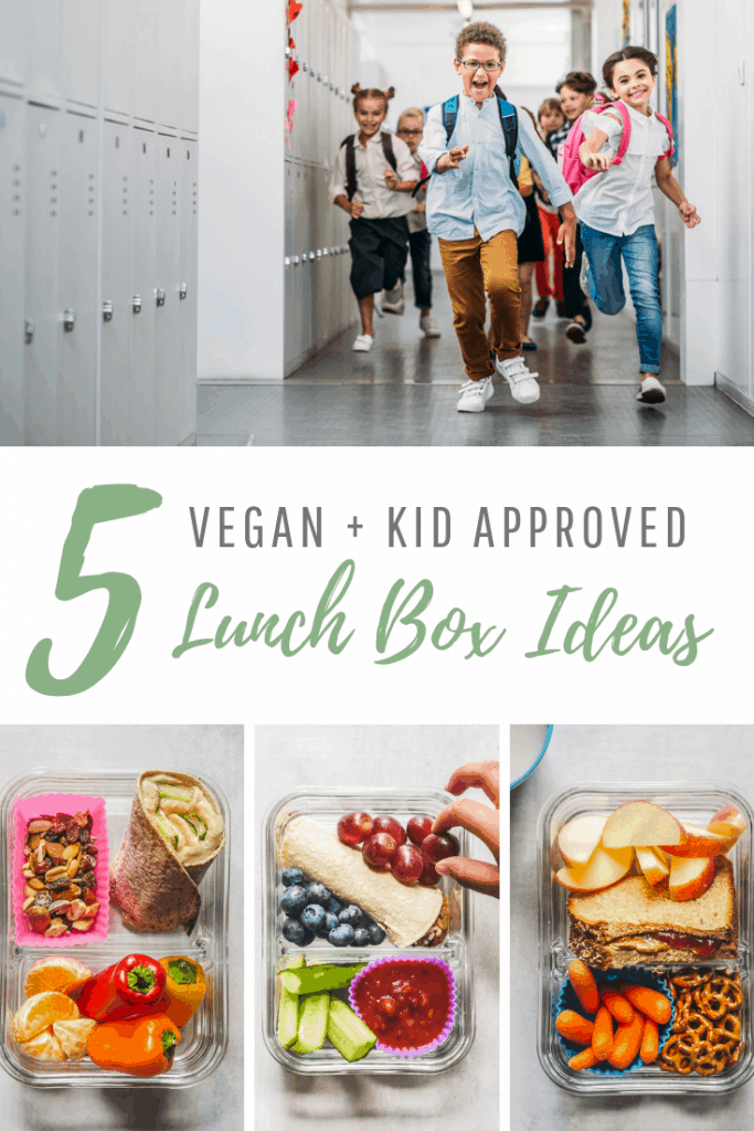 5 vegan lunch box ideas. Happy kids at school. Collage of 3 packed lunches.
