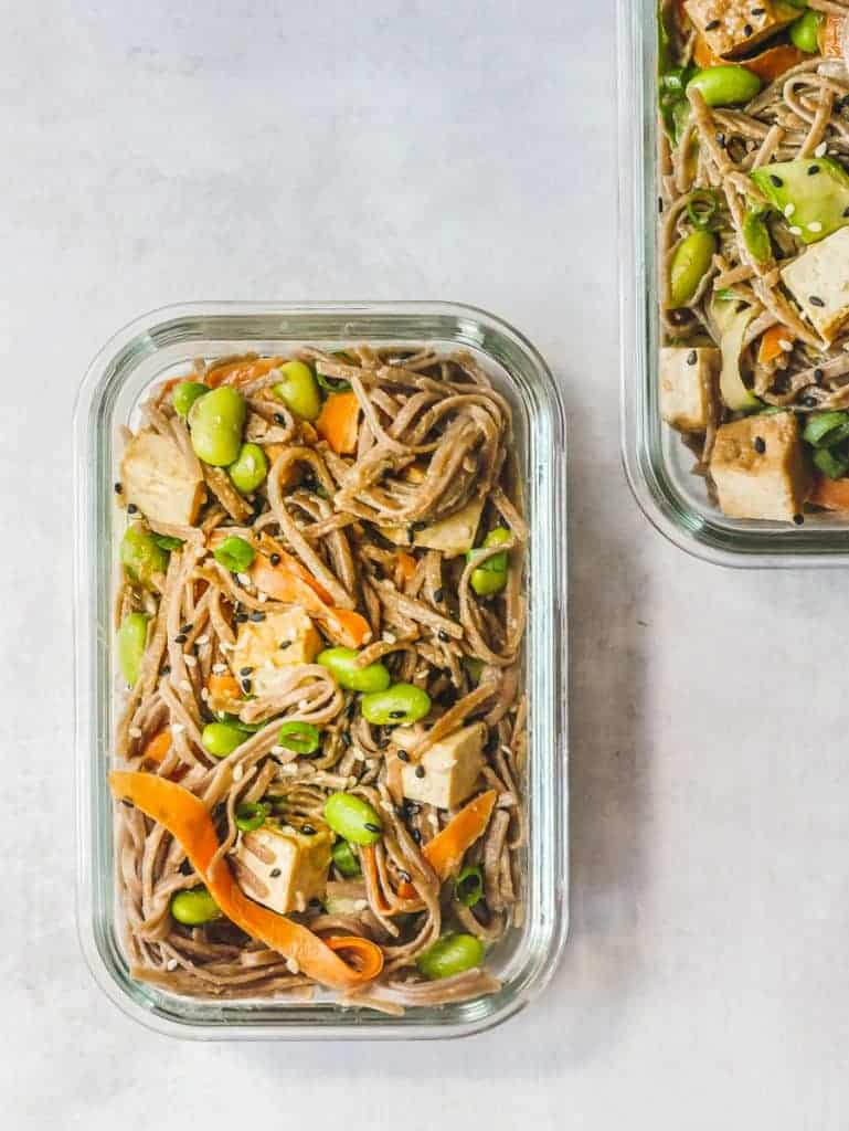 Soba Noodle Bowl in glass meal prep containers