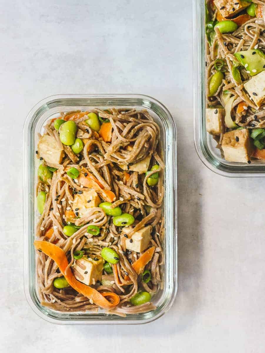 Soba Noodle Salad Meal Prep Containers on Stone Counter