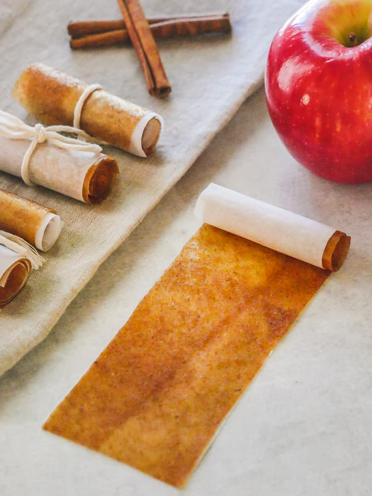 Homemade Fruit Leather roll ups with an apple and cinnamon sticks